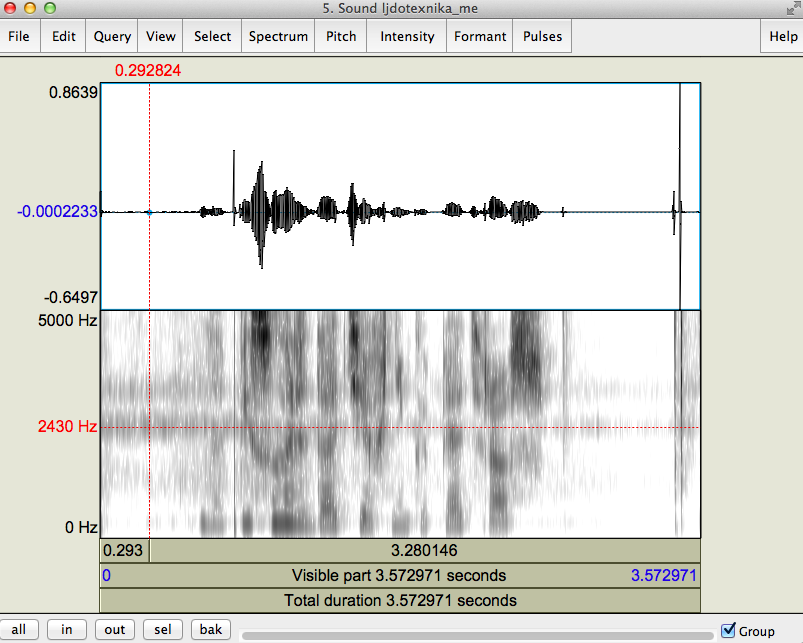 "The same recording of me saying that ""ice technology"" sentence, with a default dynamic range of 70 db. The two bands of noise are from the air conditioner in the background."