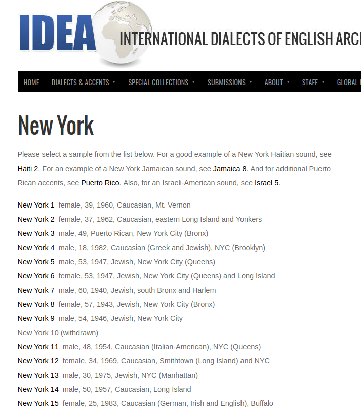 screenshot of dialect archive page